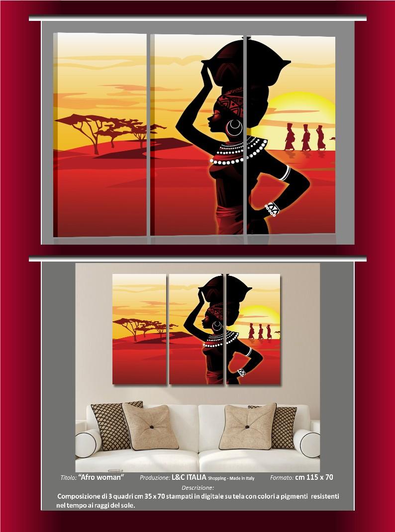 afro woman 3 quadri moderni casa arredamento poster