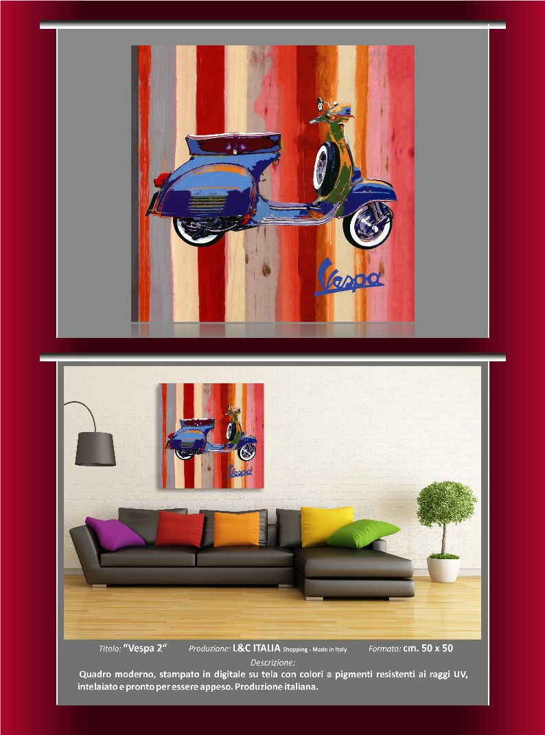 Vespa 2 quadro moderno popart lobo arte arredo casa for Arte arredo roma